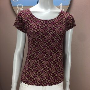 Lucky Brand T Shirt Red Floral Print Size Small
